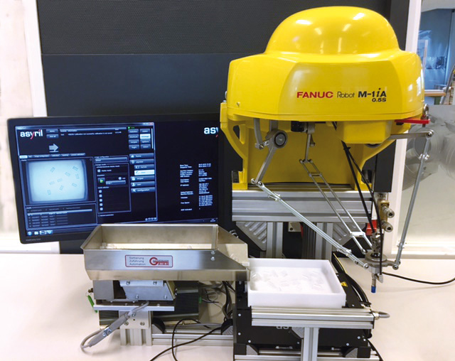 Flexibel aanvoer system: Fanuc M-1iA + Asyril Asycube + Grimm bunker